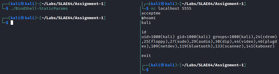 Bind TCP - Example with successful connection and passcode